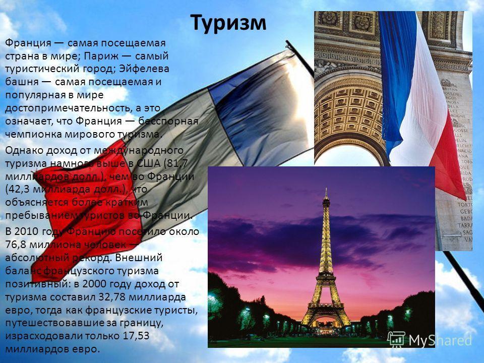 Туризм Франция самая посещаемая страна в мире; Париж самый туристический город; Эйфелева башня самая посещаемая и популярная в мире достопримечательность, а это означает, что Франция бесспорная чемпионка мирового туризма. Однако доход от международно