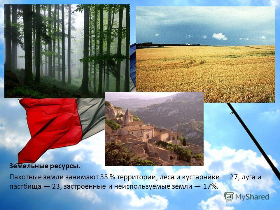 Земельные ресурсы. Пахотные земли занимают 33 % территории, леса и кустарники 27, луга и пастбища 23, застроенные и неиспользуемые земли 17%.