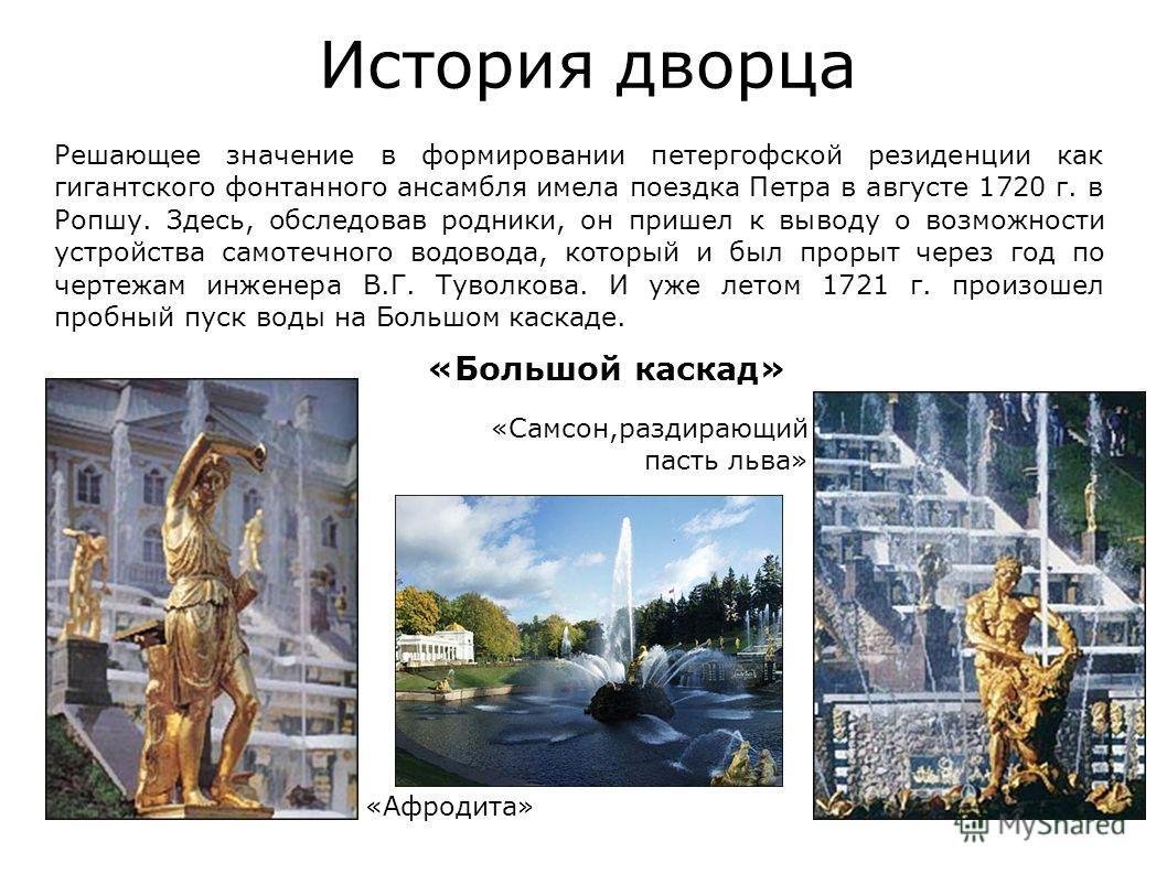 Решающее значение в формировании петергофской резиденции как гигантского фонтанного ансамбля имела поездка Петра в августе 1720 г. в Ропшу. Здесь, обследовав родники, он пришел к выводу о возможности устройства самотечного водовода, который и был про