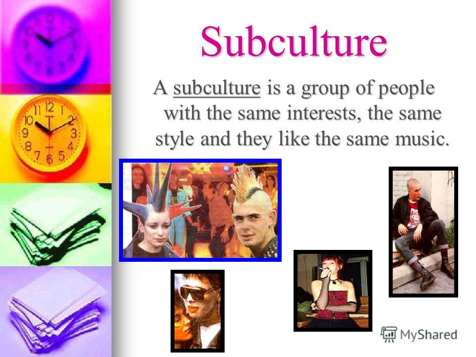 Subculture A subculture is a group of people with the same interests, the same style and they like the same music.