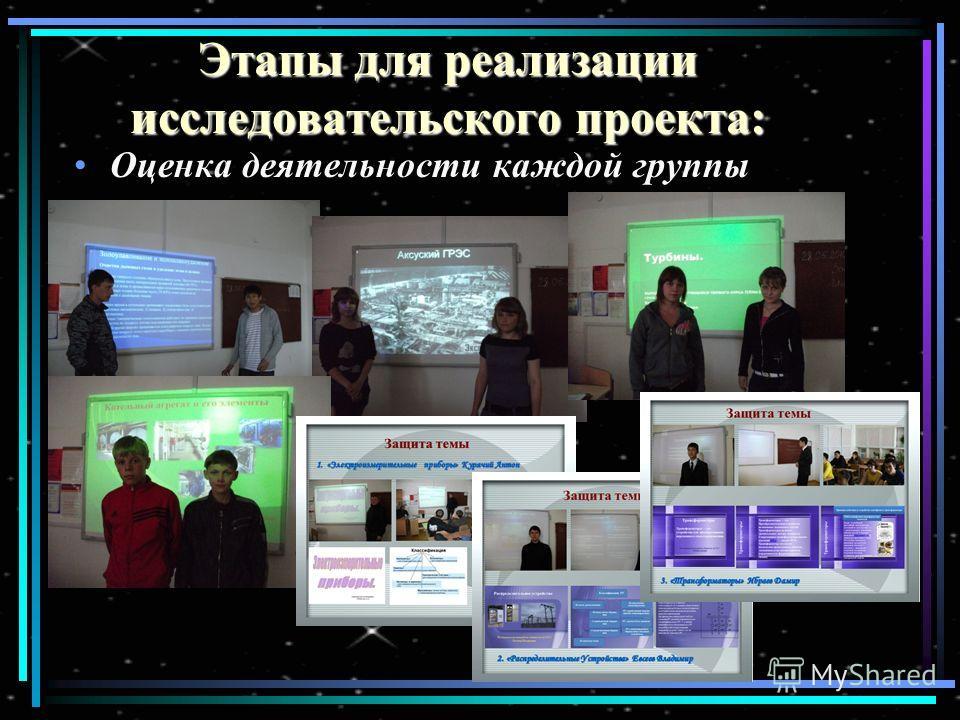 Этапы для реализации исследовательского проекта: Оценка деятельности каждой группы