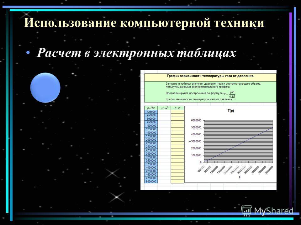 Использование компьютерной техники Расчет в электронных таблицах