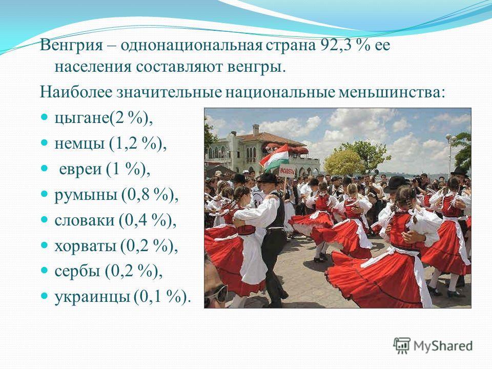 Венгрия – однонациональная страна 92,3 % ее населения составляют венгры. Наиболее значительные национальные меньшинства: цыгане(2 %), немцы (1,2 %), евреи (1 %), румыны (0,8 %), словаки (0,4 %), хорваты (0,2 %), сербы (0,2 %), украинцы (0,1 %).