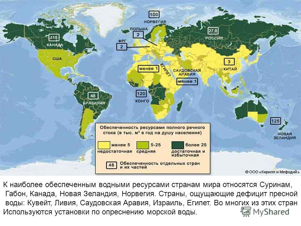 К наиболее обеспеченным водными ресурсами странам мира относятся Суринам, Габон, Канада, Новая Зеландия, Норвегия. Страны, ощущающие дефицит пресной воды: Кувейт, Ливия, Саудовская Аравия, Израиль, Египет. Во многих из этих стран Используются установ