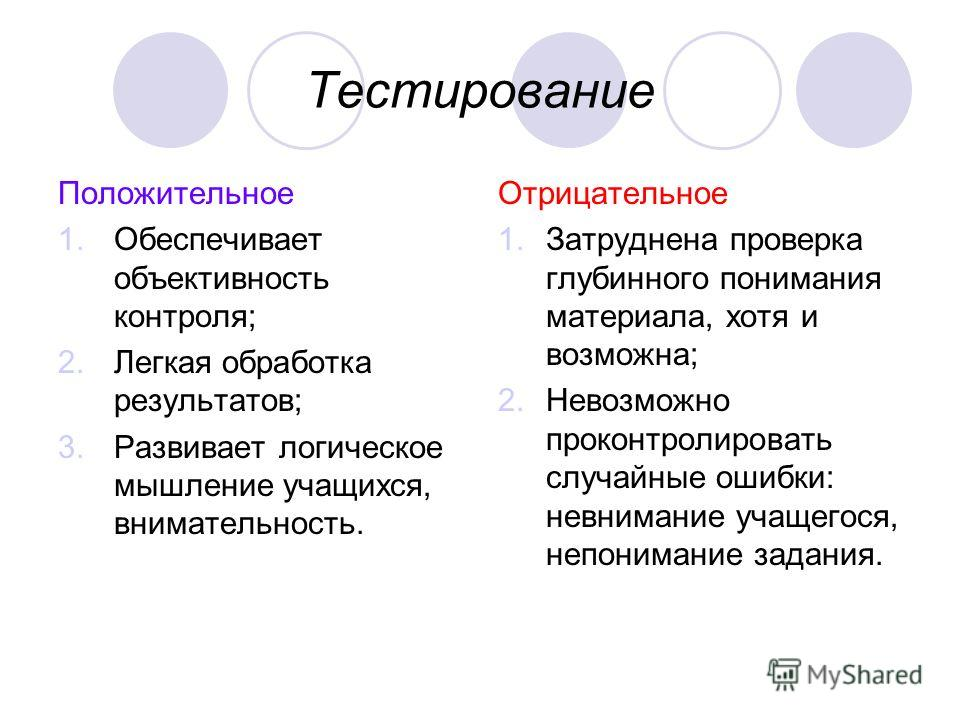 Тестирование Положительное 1.Обеспечивает объективность контроля; 2.Легкая обработка результатов; 3.Развивает логическое мышление учащихся, внимательность. Отрицательное 1.Затруднена проверка глубинного понимания материала, хотя и возможна; 2.Невозмо
