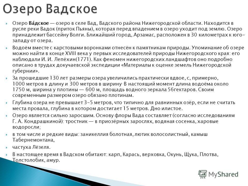 Озеро Ва́дское озеро в селе Вад, Вадского района Нижегородской области. Находится в русле реки Вадок (приток Пьяны), которая перед впадением в озеро уходит под землю. Озеро принадлежит бассейну Волги. Ближайший город, Арзамас, расположен в 30 километ