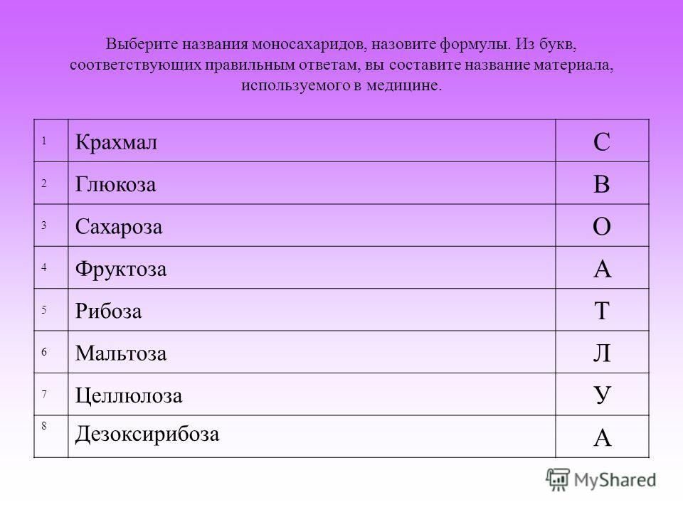 Выберите названия моносахаридов, назовите формулы. Из букв, соответствующих правильным ответам, вы составите название материала, используемого в медицине. 1 Крахмал С 2 Глюкоза В 3 Сахароза О 4 Фруктоза А 5 Рибоза Т 6 Мальтоза Л 7 Целлюлоза У 8 Дезок