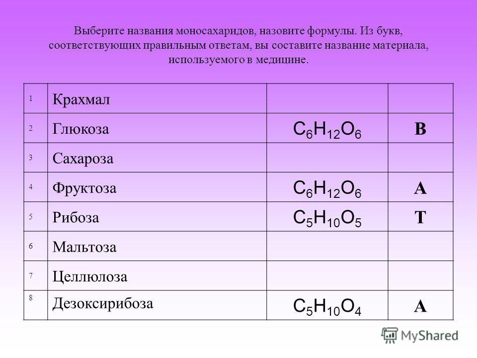 Выберите названия моносахаридов, назовите формулы. Из букв, соответствующих правильным ответам, вы составите название материала, используемого в медицине. 1 Крахмал 2 Глюкоза С 6 Н 12 О 6 В 3 Сахароза 4 Фруктоза С 6 Н 12 О 6 А 5 Рибоза С 5 Н 10 О 5 Т