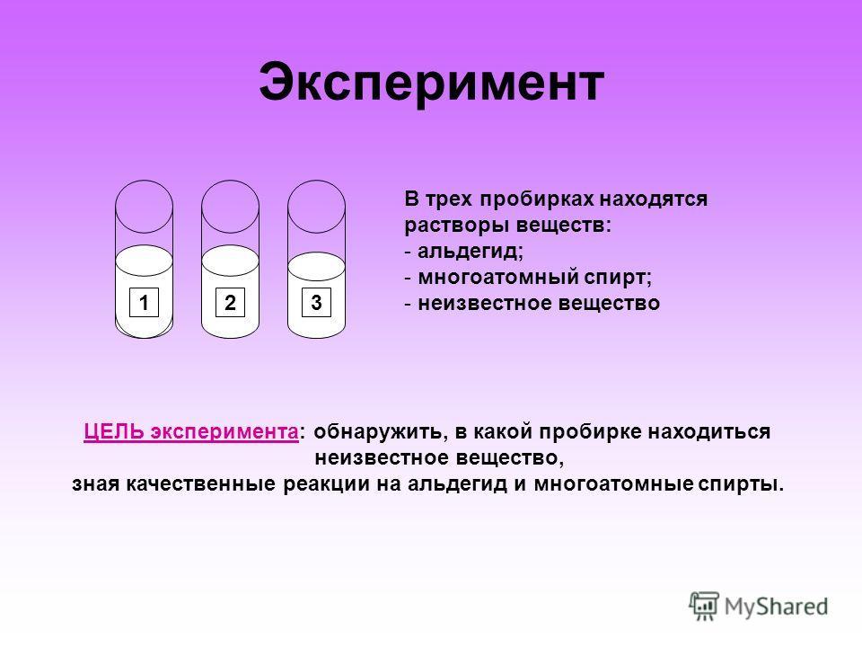Эксперимент 123 В трех пробирках находятся растворы веществ: - альдегид; - многоатомный спирт; - неизвестное вещество ЦЕЛЬ эксперимента: обнаружить, в какой пробирке находиться неизвестное вещество, зная качественные реакции на альдегид и многоатомны