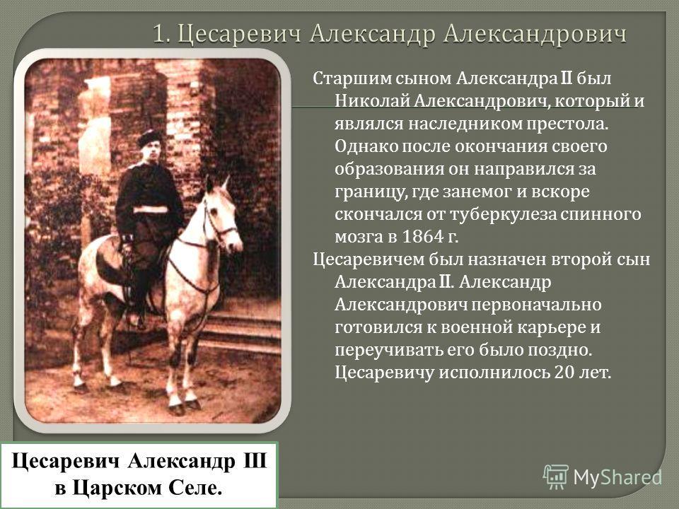 Старшим сыном Александра II был Николай Александрович, который и являлся наследником престола. Однако после окончания своего образования он направился за границу, где занемог и вскоре скончался от туберкулеза спинного мозга в 1864 г. Цесаревичем был