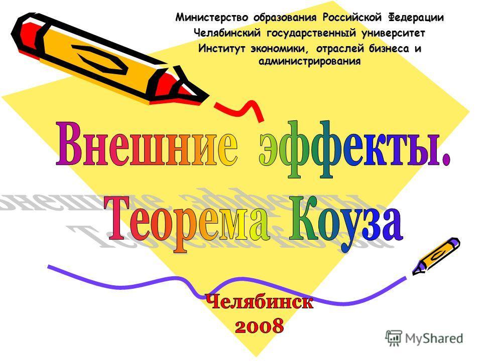 Министерство образования Российской Федерации Челябинский государственный университет Институт экономики, отраслей бизнеса и администрирования