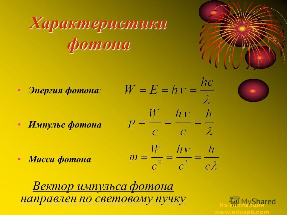 Характеристики фотона Энергия фотона: Импульс фотона Масса фотона Вектор импульса фотона направлен по световому пучку Из коллекции www.eduspb.com