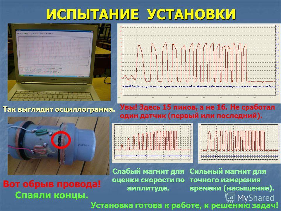 ИСПЫТАНИЕ УСТАНОВКИ Так выглядит осциллограмма. Увы! Здесь 15 пиков, а не 16. Не сработал один датчик (первый или последний). Вот обрыв провода! Спаяли концы. Слабый магнит для оценки скорости по амплитуде. Сильный магнит для точного измерения времен