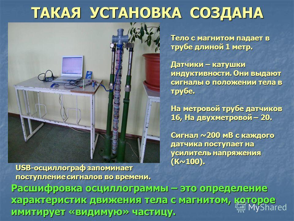 ТАКАЯ УСТАНОВКА СОЗДАНА Тело с магнитом падает в трубе длиной 1 метр. Датчики – катушки индуктивности. Они выдают сигналы о положении тела в трубе. На метровой трубе датчиков 16, На двухметровой – 20. Сигнал ~200 мВ с каждого датчика поступает на уси