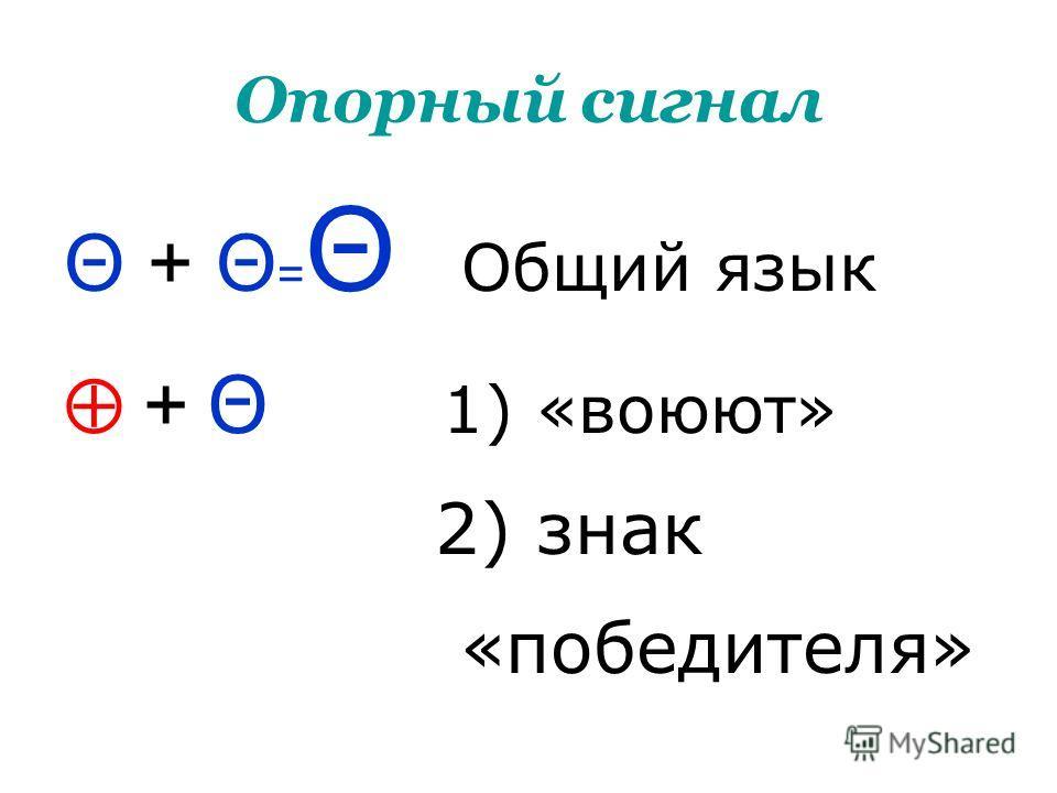 Опорный сигнал Θ + Θ = Θ Общий язык + Θ 1) «воюют» 2) знак «победителя»
