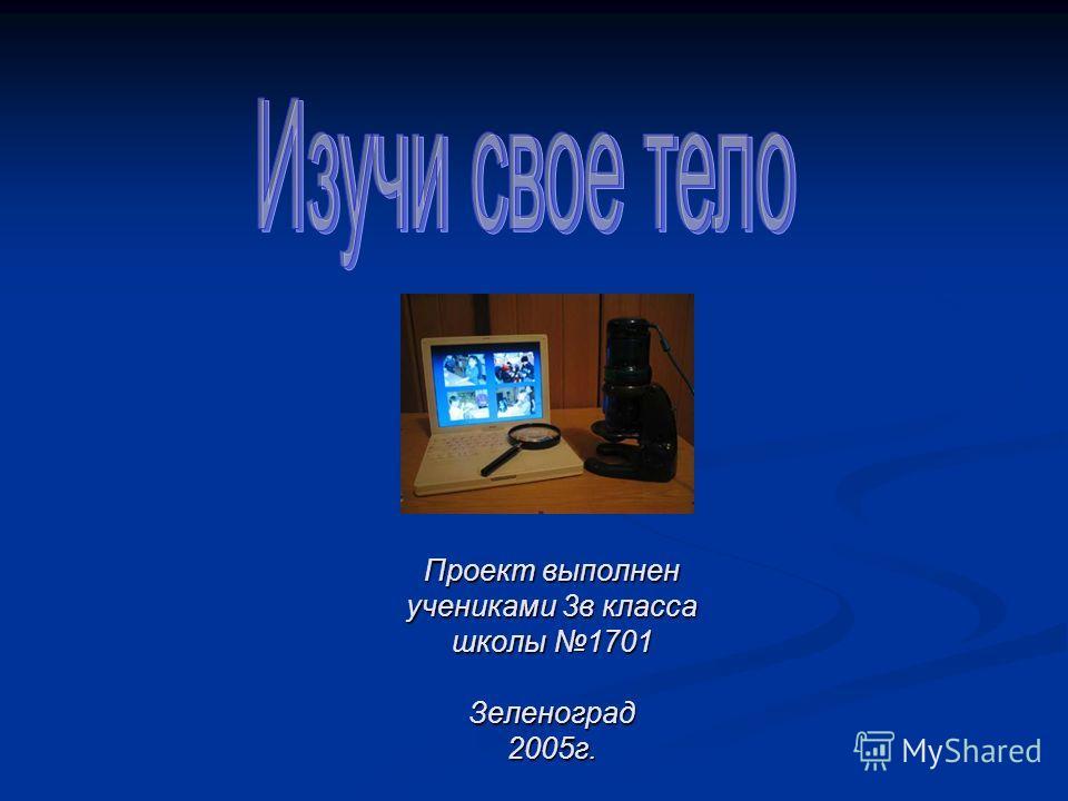 Проект выполнен учениками 3в класса школы 1701 Зеленоград 2005г.