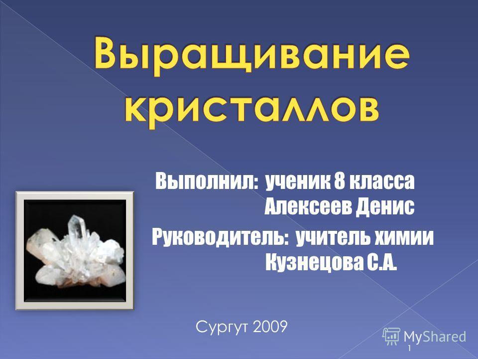 Выполнил: ученик 8 класса А Алексеев Денис Руководитель: учитель химии К Кузнецова С.А. Сургут 2009 1