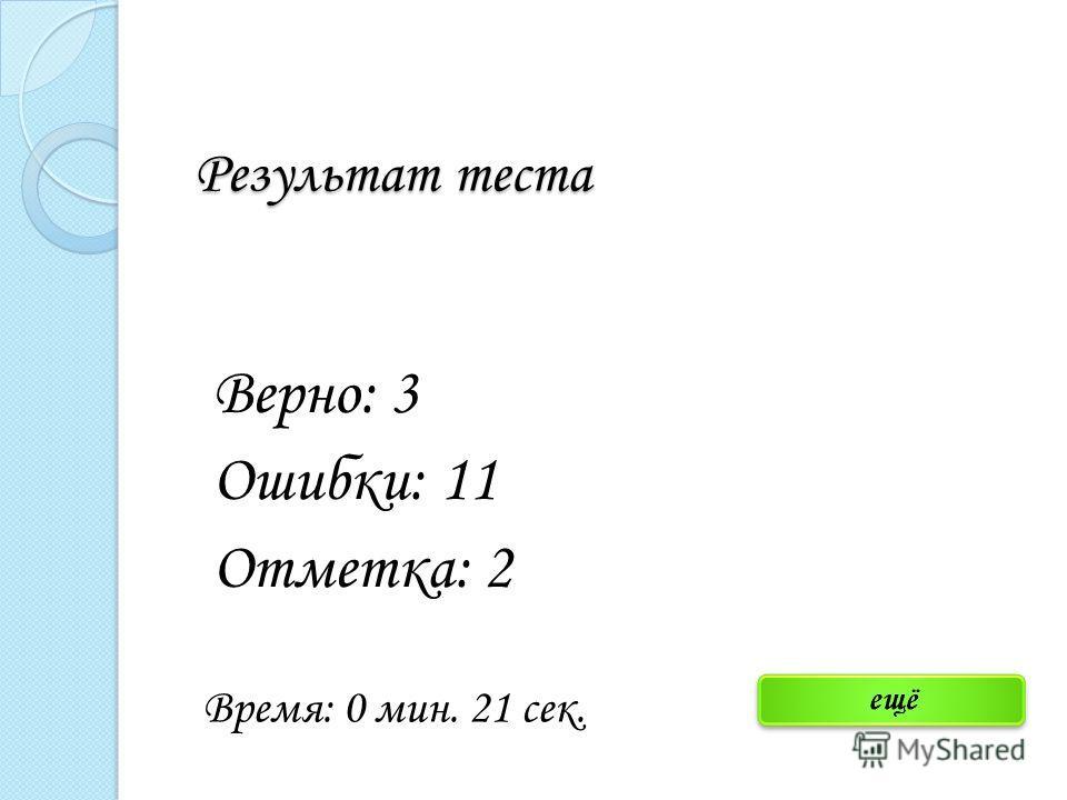 Результат теста Верно: 3 Ошибки: 11 Отметка: 2 Время: 0 мин. 21 сек.