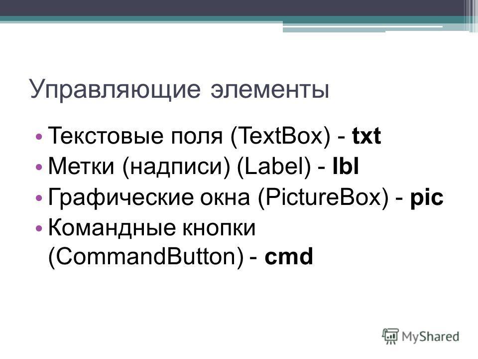 Управляющие элементы Текстовые поля (TextBox) - txt Метки (надписи) (Label) - lbl Графические окна (PictureBox) - pic Командные кнопки (CommandButton) - cmd