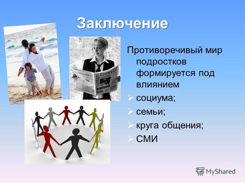 Заключение Противоречивый мир подростков формируется под влиянием социума; семьи; круга общения; СМИ
