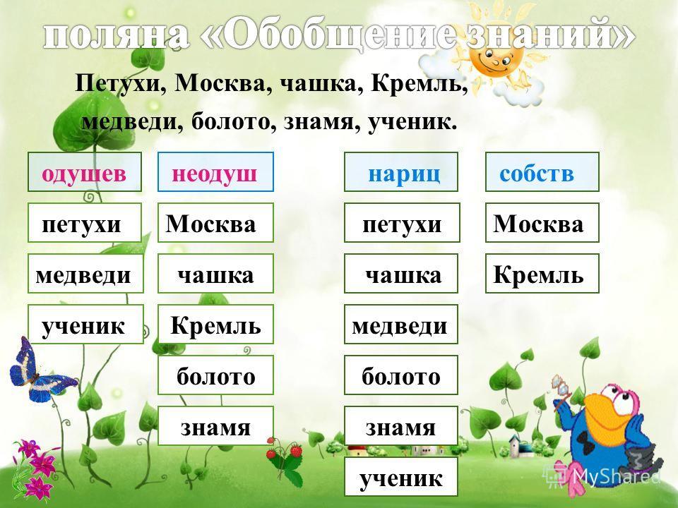 Петухи, Москва, чашка, Кремль, медведи, болото, знамя, ученик. одушев неодуш собств нариц петухи медведи ученик Москва чашка Кремль болото знамя Москвапетухи Кремль медведи знамя болото чашка ученик