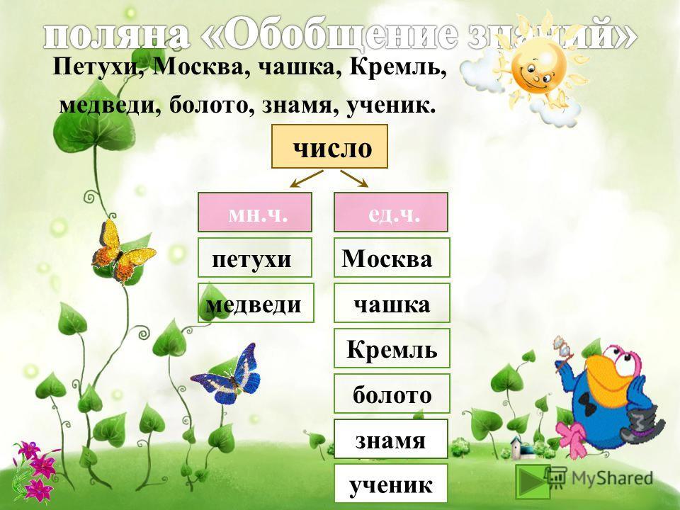 мн.ч. ед.ч. число петухи медведи Москва чашка Кремль болото знамя Петухи, Москва, чашка, Кремль, медведи, болото, знамя, ученик. ученик