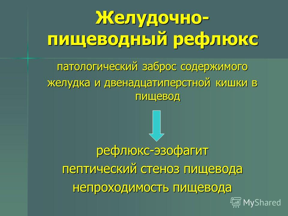 Желудочно- пищеводный рефлюкс патологический заброс содержимого желудка и двенадцатиперстной кишки в пищевод рефлюкс-эзофагит пептический стеноз пищевода непроходимость пищевода