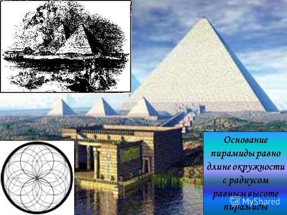Основание пирамиды равно длине окружности с радиусом равным высоте пирамиды