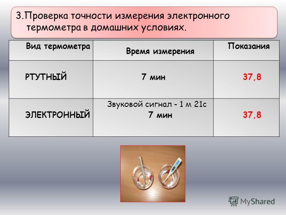 Вид термометра Время измерения Показания РТУТНЫЙ 7 мин37,8 ЭЛЕКТРОННЫЙ Звуковой сигнал - 1 м 21с 7 мин37,8 3.Проверка точности измерения электронного термометра в домашних условиях.