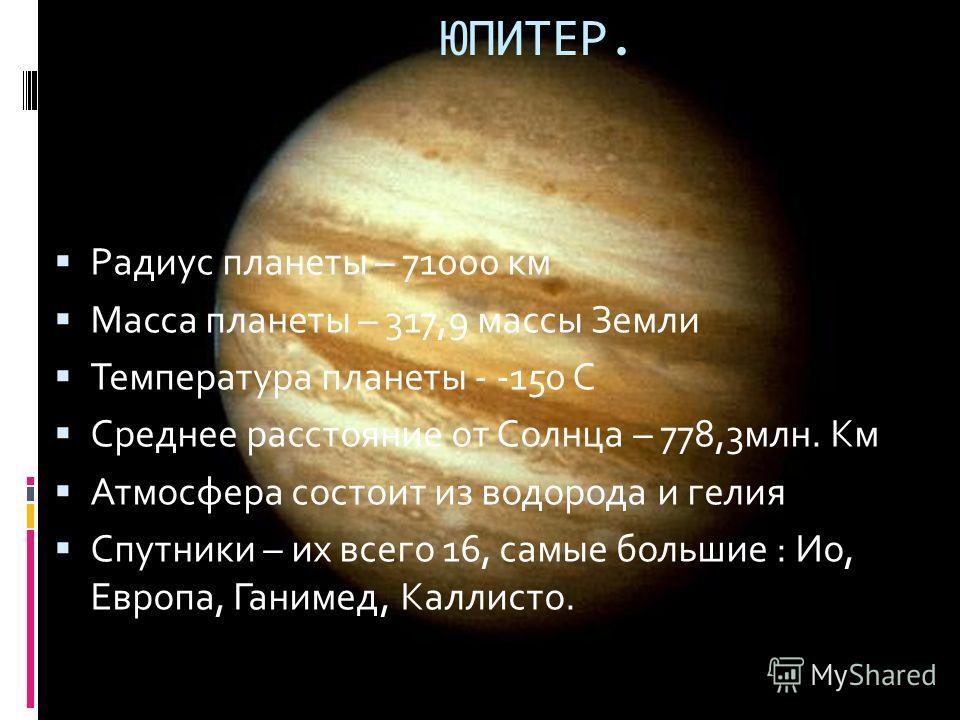 Радиус планеты – 71000 км Масса планеты – 317,9 массы Земли Температура планеты - -150 С Среднее расстояние от Солнца – 778,3млн. Км Атмосфера состоит из водорода и гелия Спутники – их всего 16, самые большие : Ио, Европа, Ганимед, Каллисто. ЮПИТЕР.