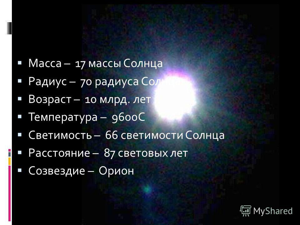 Масса – 17 массы Солнца Радиус – 70 радиуса Солнца Возраст – 10 млрд. лет Температура – 9600С Светимость – 66 светимости Солнца Расстояние – 87 световых лет Созвездие – Орион Ригель Ригель