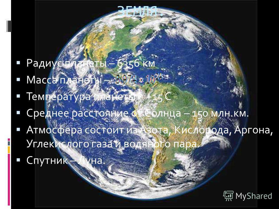 Радиус планеты – 6356 км Масса планеты – Температура планеты – +15 С Среднее расстояние от Солнца – 150 млн.км. Атмосфера состоит из Азота, Кислорода, Аргона, Углекислого газа и водяного пара. Спутник – Луна. ЗЕМЛЯ.