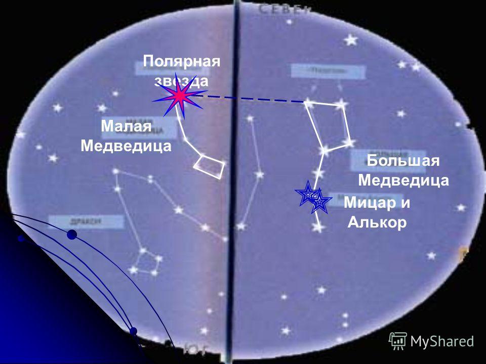 Полярная звезда Малая Медведица Большая Медведица Мицар и Алькор