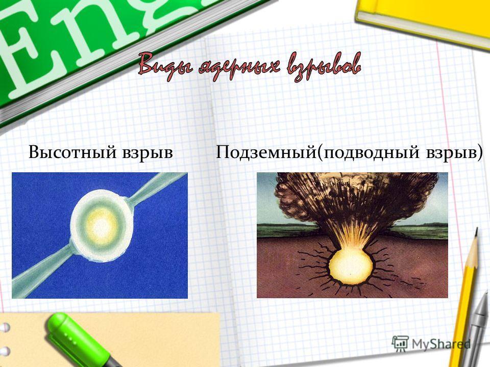 Высотный взрывПодземный(подводный взрыв)