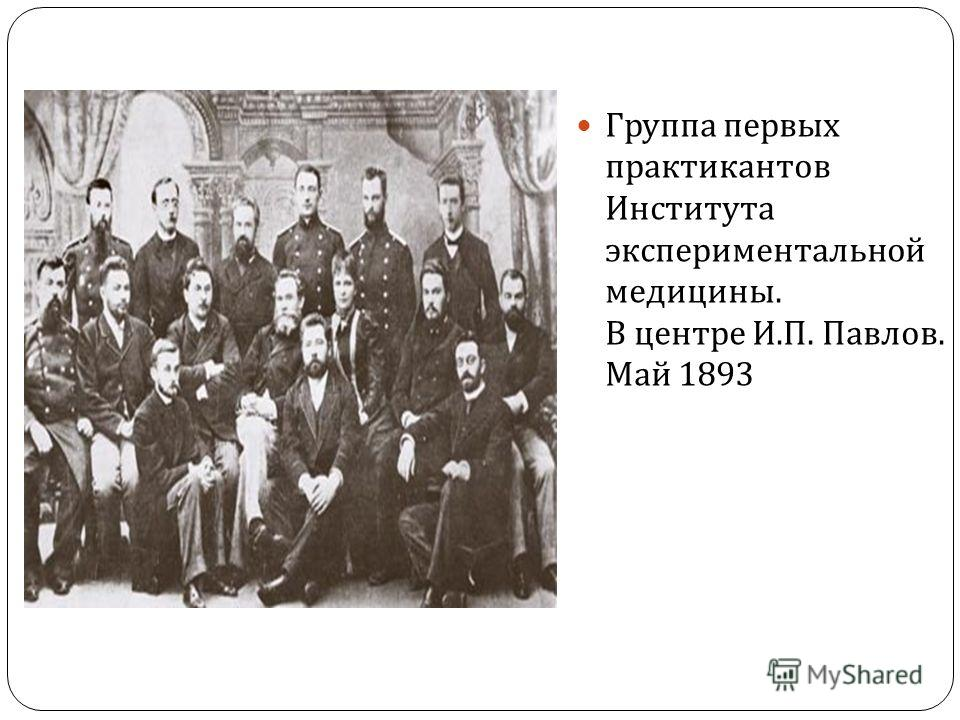 Группа первых практикантов Института экспериментальной медицины. В центре И. П. Павлов. Май 1893