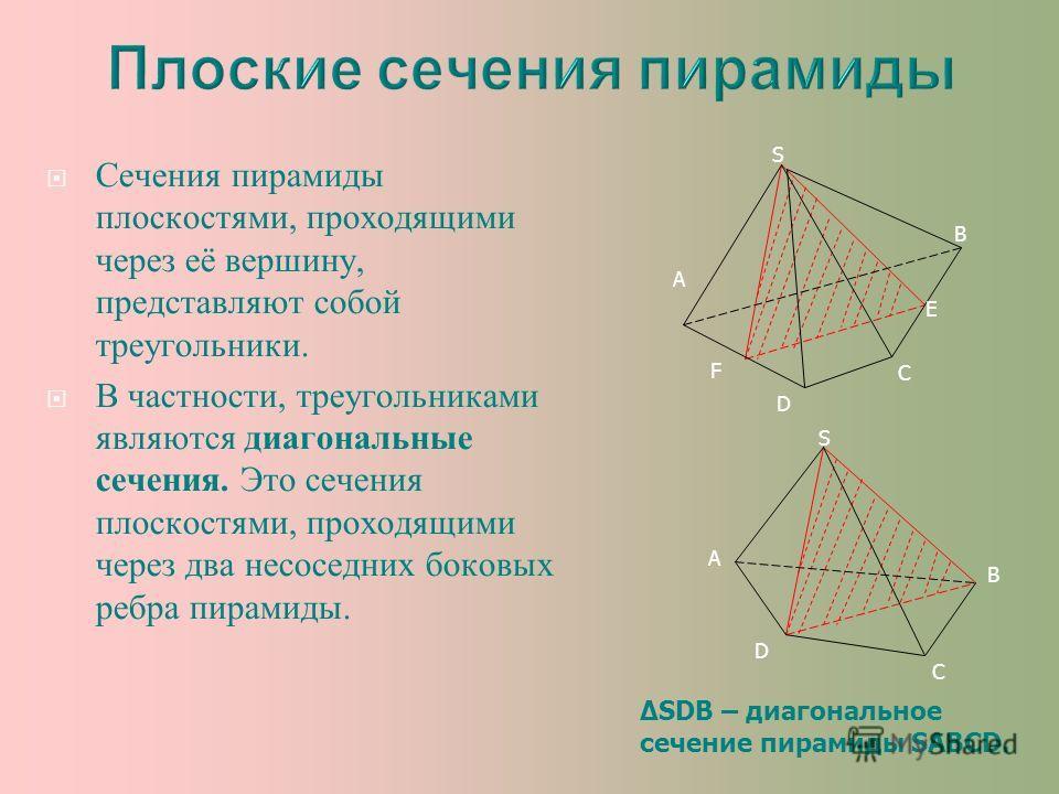 Сечения пирамиды плоскостями, проходящими через её вершину, представляют собой треугольники. В частности, треугольниками являются диагональные сечения. Это сечения плоскостями, проходящими через два несоседних боковых ребра пирамиды. A C D S B E F A