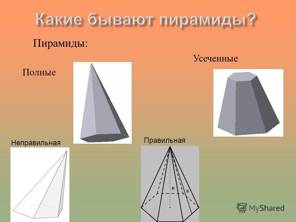 Пирамиды: Полные Усеченные Неправильная Правильная