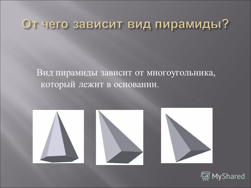Вид пирамиды зависит от многоугольника, который лежит в основании.