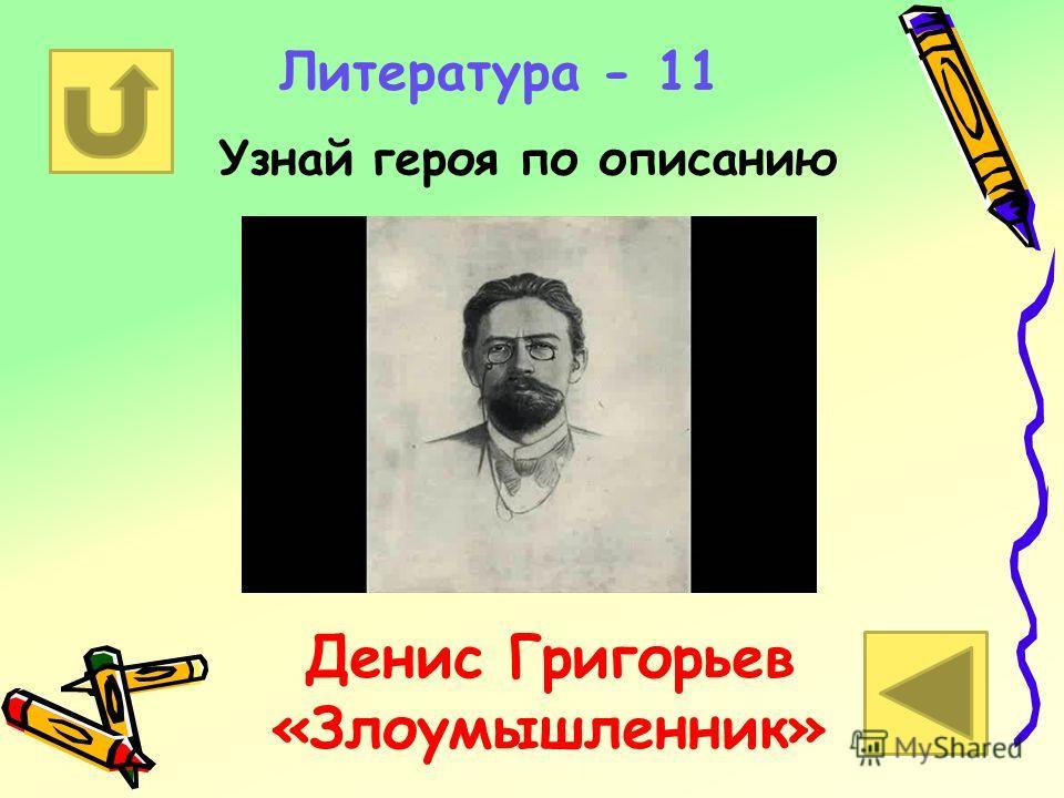 Литература - 11 Узнай героя по описанию Денис Григорьев «Злоумышленник»