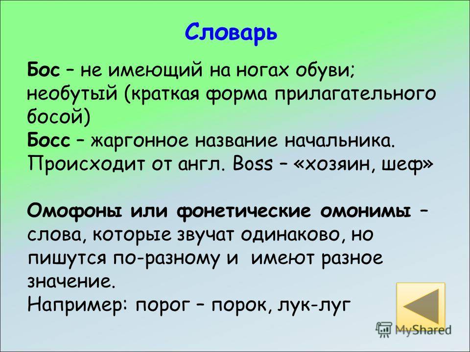 Бос – не имеющий на ногах обуви; необутый (краткая форма прилагательного босой) Босс – жаргонное название начальника. Происходит от англ. Boss – «хозяин, шеф» Омофоны или фонетические омонимы – слова, которые звучат одинаково, но пишутся по-разному и