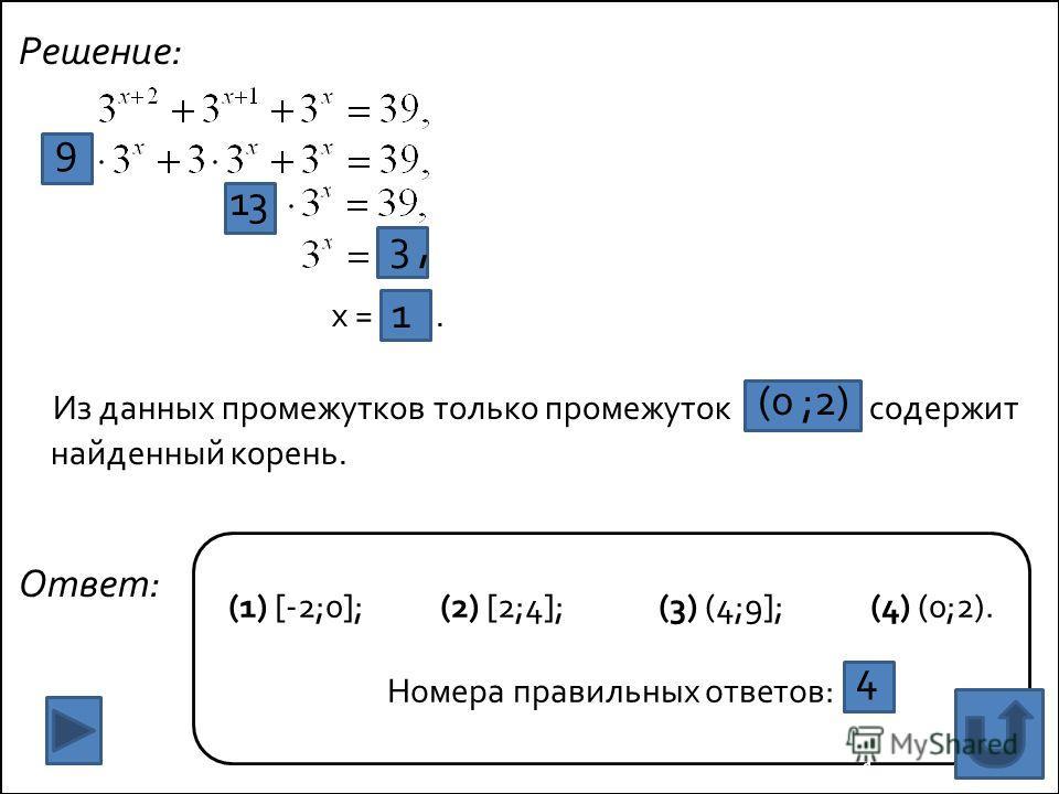 Решение: x =. Из данных промежутков только промежуток содержит найденный корень. Ответ: 1 (1) [-2;0]; (2) [2;4]; (3) (4;9]; (4) (0;2). Номера правильных ответов: 9 1 13 1, 3, 1 1 1 1 (0 ;2) 4