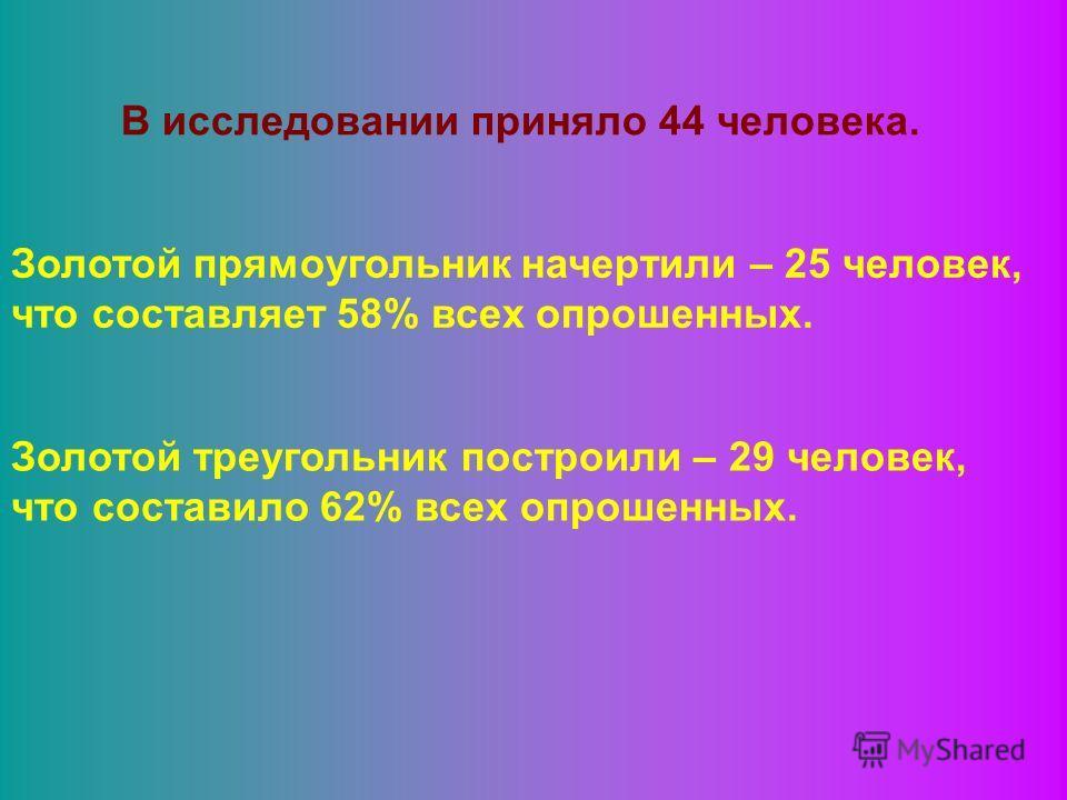 В исследовании приняло 44 человека. Золотой прямоугольник начертили – 25 человек, что составляет 58% всех опрошенных. Золотой треугольник построили – 29 человек, что составило 62% всех опрошенных.