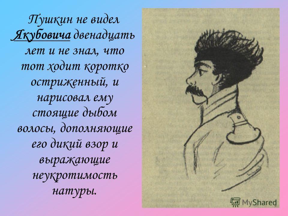 Пушкин не видел Якубовича двенадцать лет и не знал, что тот ходит коротко остриженный, и нарисовал ему стоящие дыбом волосы, дополняющие его дикий взор и выражающие неукротимость натуры.