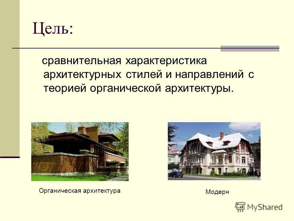 Цель: сравнительная характеристика архитектурных стилей и направлений с теорией органической архитектуры. Органическая архитектура Модерн