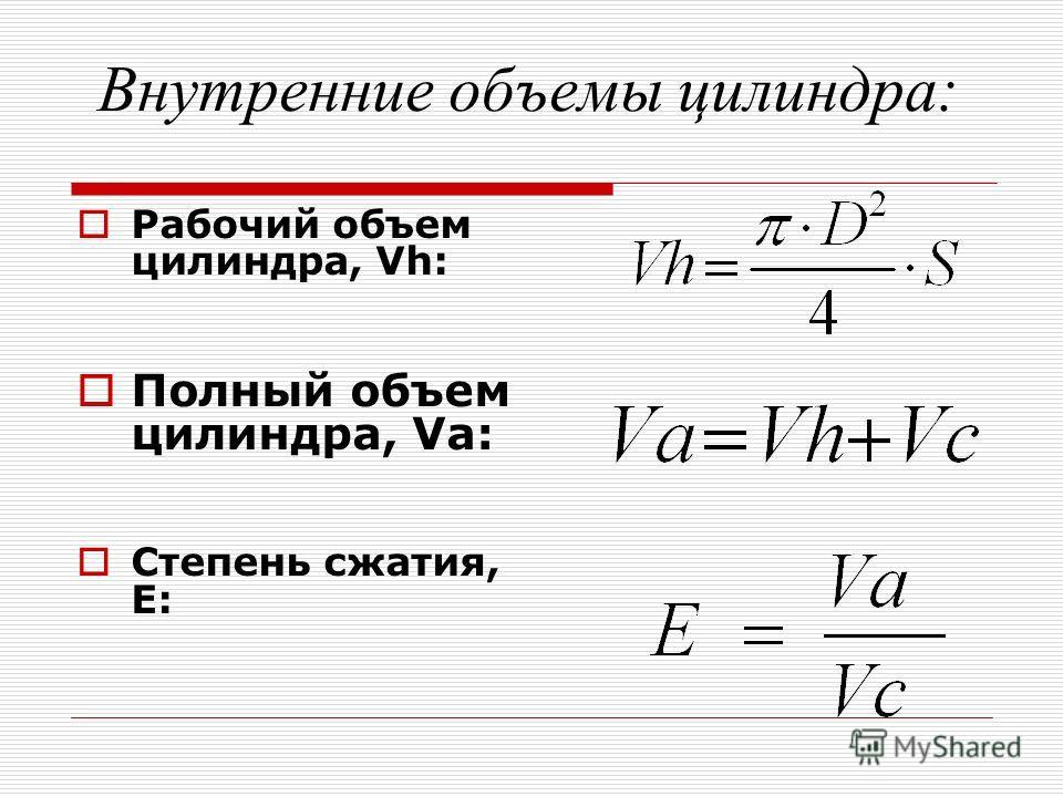 Внутренние объемы цилиндра: Рабочий объем цилиндра, Vh: Полный объем цилиндра, Va: Степень сжатия, Е: