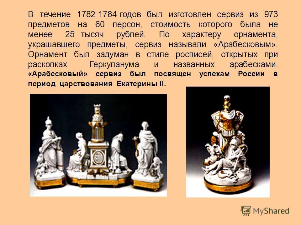 В течение 1782-1784 годов был изготовлен сервиз из 973 предметов на 60 персон, стоимость которого была не менее 25 тысяч рублей. По характеру орнамента, украшавшего предметы, сервиз называли «Арабесковым». Орнамент был задуман в стиле росписей, откры