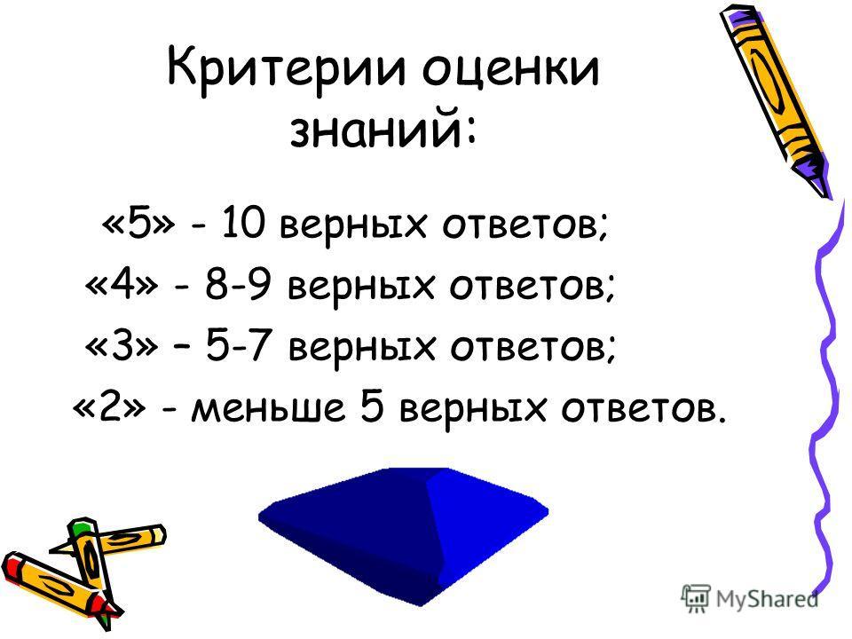 Критерии оценки знаний: «5» - 10 верных ответов; «4» - 8-9 верных ответов; «3» – 5-7 верных ответов; «2» - меньше 5 верных ответов.