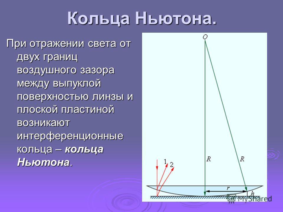 Кольца Ньютона. При отражении света от двух границ воздушного зазора между выпуклой поверхностью линзы и плоской пластиной возникают интерференционные кольца – кольца Ньютона.