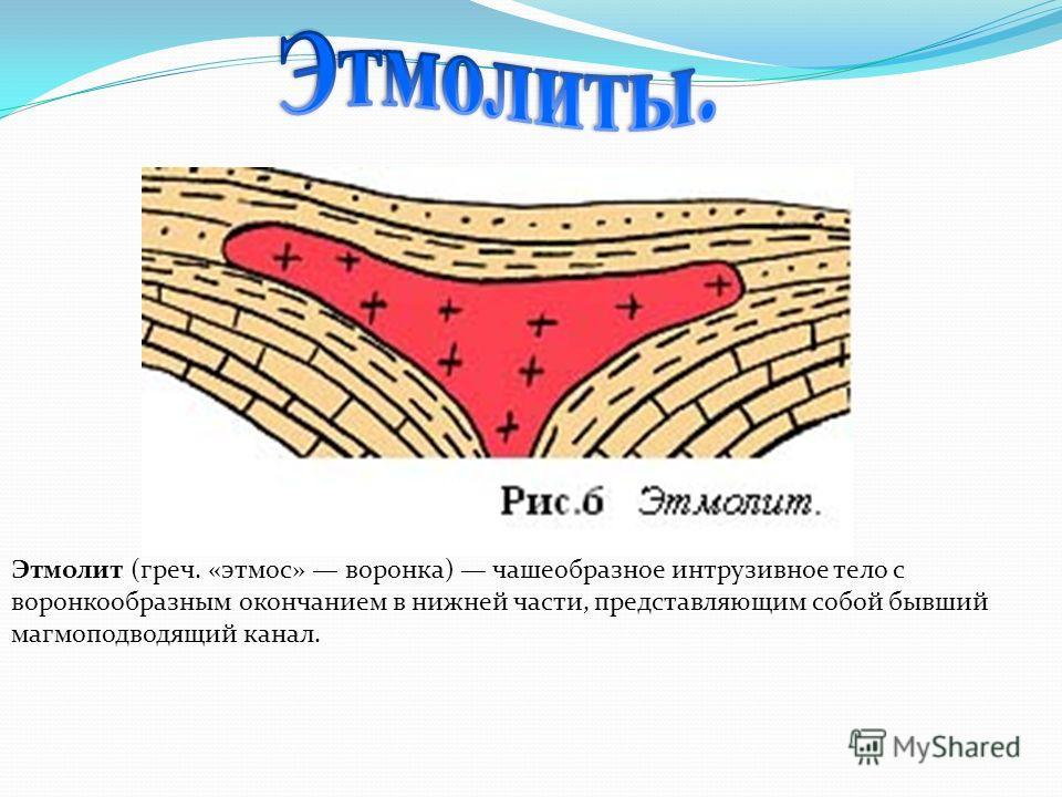 Этмолит (греч. «этмос» воронка) чашеобразное интрузивное тело с воронкообразным окончанием в нижней части, представляющим собой бывший магмоподводящий канал.