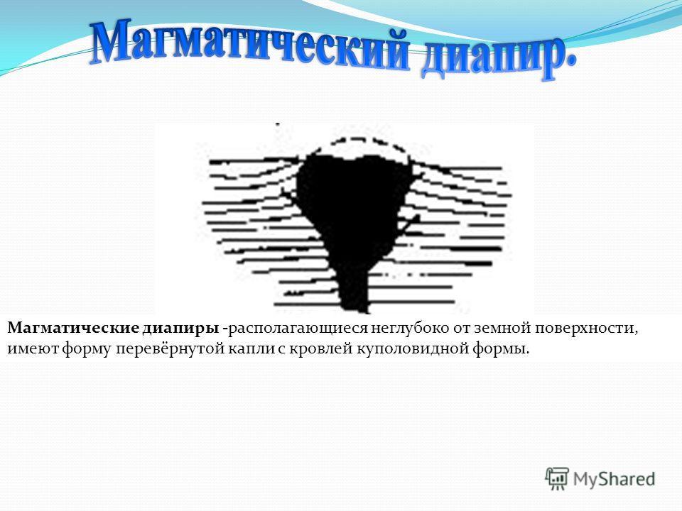 Магматические диапиры -располагающиеся неглубоко от земной поверхности, имеют форму перевёрнутой капли с кровлей куполовидной формы.